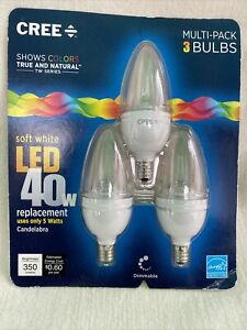 Cree 40W Soft White Candelabra Dimmable LED Replacement Bulb (3 Bulb)