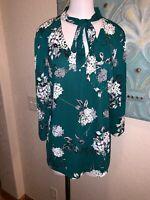 NWT Worthington Blouse Sz L Green White Gray Floral Front Tie 3/4 Sleeve Tunic