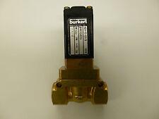 "Burkert Solenoid Valve 1/2""  2/2 NO Brass body 240v Servo assisted piston valve"