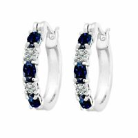 New 2.10Ct Blue Sapphire Hoop Earrings with Diamond Platinum-Plated Brass