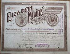 Silver Dollar Vignette 'Elizabeth Mining' 1889 Montana Mining Stock Certificate