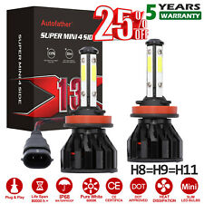 H11 Led Headlight 6000K 2019 2000W 300000Lm 4-Side Kit Low Beam Bulbs High Power