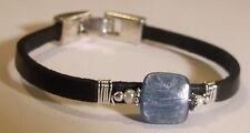 Kyanite, Freshwater Pearl & Flat Leather Bracelet  ~* Sundance Artisan *~