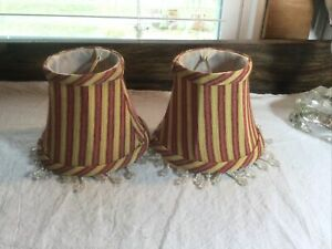 """Set of 2 Red & Gold clip-on bell shaped lamp shades with beads ~ 4"""" X 5"""" X 3"""""""