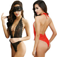 Sexy Women Lingerie Red Black Rose Lace lingerie Deep-v Neck Lenceria Costumes