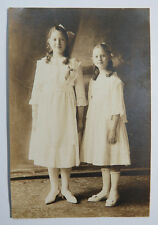 Original Communion Religious Phototograph - Two Girls Standing, Painted Backdrop