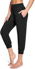 New listing BALEAF Women's Yoga Capris Pants High Waisted Soft Lightweight Cropped Joggers S