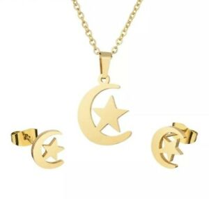 Gold Stainless Steel Moon Star Pendant Necklace And Earrings Set With Gift Bag