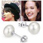 925 Sterling Silver White Pearl Ear Stud Studs Earrings Women Lady Jewelry Hot
