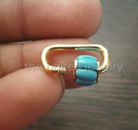 20mm Yellow Gold Plating Solid Sterling Silver Turquoise Mini Carabiner lock