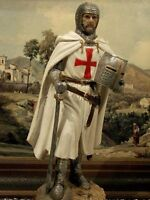"""Hand Painted Medieval Crusader Knight  Figure Realistic Perfect Gift 25,5 cm/10"""""""