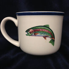 BIG SKY CARVERS STREAMSIDE FISH MUG 14 OZ PHILLIP CROWE SPORTSMAN BLUE BAND