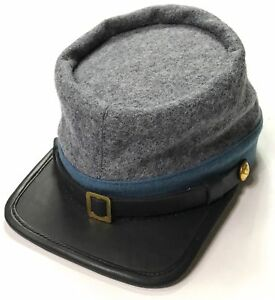 Civil War CSA Infantry Leather Peak kepi, Grey with Sky Blue Band Plain Kepi