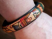 Vintage hand painted leather bangle bracelet