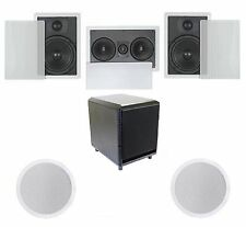 """FLUSH IN-WALL/CEILING SPEAKERS 5.1 HOME THEATER SURROUND WITH 10"""" POWERED SUB"""