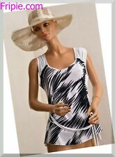 8fb645288b6f7 haut top tee shirt blanc   noir VERNAL grande taille L ref 280117