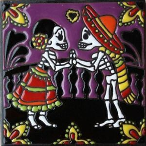 "6""x6"" The Lovers. Day-Of-The-Dead Dia de los Muertos Mexican Tile,FREE SHIPPING."
