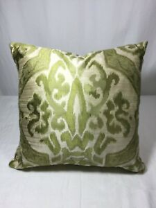 Eastern Accents Green Cream Brocade Throw Pillow 17 x 17 Feather Insert