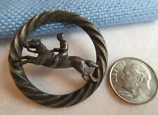 """6714 – Racing Horse and Jockey Openwork Inside Border White Metal Button 1-7/16"""""""