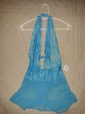 NWT Frederick's of Hollywood Teddy Slip  stretch lace halter plunge thong Large