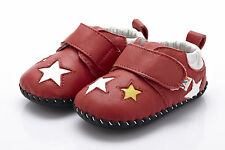 Baby Boy's/Girl's Infant Toddler Children's  Red Soft REAL Leather Star Shoes
