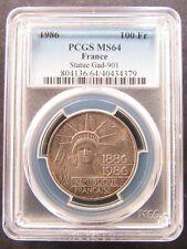 France : 100 Francs 1986 Silver Liberty ; PCGS : MS 64 aUNC