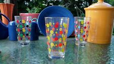 FIESTA glassware 16 oz TALL TEA DRINK glass POLKA DOT poppy sunflower scarlet l