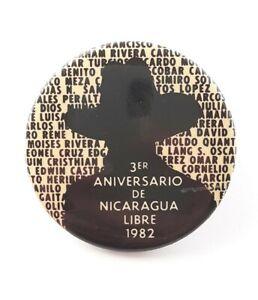 1982 Nicaragua Revolution Sandinista Liberation Anniversary Button Pin