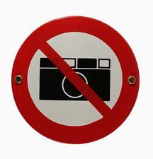 Emaille Hinweis Schild Fotografieren Kamera verboten Warnschild Ø 15cm Blech Neu