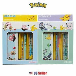 Pokemon Pencil Case Pencil Ruler School Supply Gift Stationery Set 4pcs (Random)