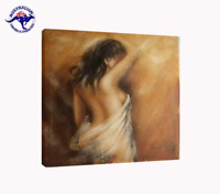 NUDE ART OIL PAINTING OF A NAKED WOMAN FRAMED WITH MOTTLED GOLD FRAME