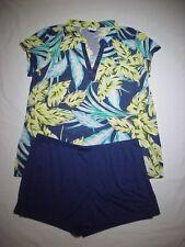 74594c8f5a1 Jaclyn Smith 2-Piece Summer Pajama Set Size L Tropical Print   Blue Shorts -