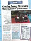 Crossley Burney Streamline 6 Cyl. 1933 UK England Car Auto Retro FICHE FRANCE