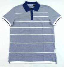 Hugo Boss GR-Janis Blue Striped Cotton Short Sleeve Basic Polo Shirt Sz S BNWT