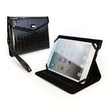 Stunning Gloss Black Faux Crocodile Skin iPad Mini & Retina Bag Stand Case Sleep