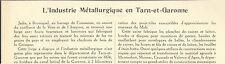 82 L' INDUSTRIE METALLURGIQUE DANS LE TARN ET GARONNE ARTICLE DE PRESSE 1932