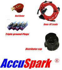 Morris Minor 8mm leads,AC9C plugs,Red Rotor& Distributor side cap for Lucas 25D