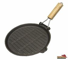 """Outback Round Cast Iron Grill Pan : Skillet Foldable Wooden Handle 26cm 10.5"""""""