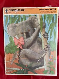 1993 Frame-Tray Puzzle-Rainbow Works-Cuddly Koala- Outer plastic wrapper torn