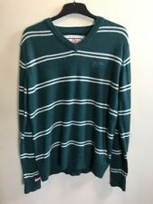 Super Dry Lovely Mens Green & White Stripped V Neck Jumper Size M