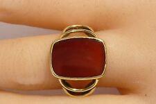 Stunning 585 Carnelian Ring 14k Gold Ring Yellow Green Gold Handcraft Exquisite