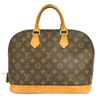 Louis Vuitton Alma M51130 Monogram Canvas Satchel Hand Bag Tote Purse Brown LV