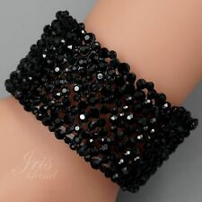 Black Alloy Jet Crystal Rhinestone Wedding Bangle Cuff Stretch Bracelet 09707