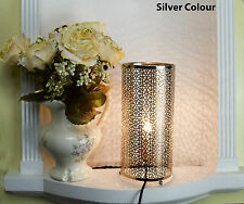 Silver Effect Moroccan Table Lamp Bed Side Table Lamp New Style Home Decor