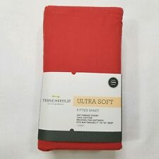 Threshold Ultra Soft Fitted Sheet Twin 300 Thread Count Red Orange
