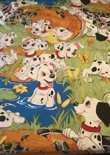 Disney 101 DALMATIONS Twin Sheet Set Flat & Fitted Sheets Material Fabric Dogs