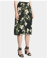 Dkny Womens Sz 16 Black Floral Print Pleated Knee Length A-Line Skirt