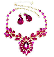 Hot Pink Rhinestone Necklace Earring Set Bridal Wedding Jewerly Prom Pageant