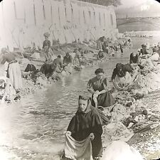 Vtg Keystone Magic Lantern Glass Slide Photo Women Washing Clothes Nice France