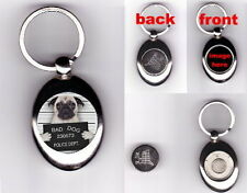 HUG WANTED Pug Dog Hugs Love Fun High Quality Metal Key Ring Keyring Keys
